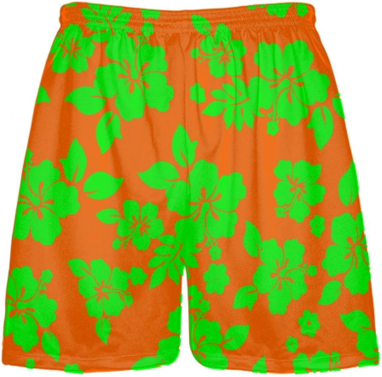 LightningWear Neon Green orange Hawaiian Shorts Accent