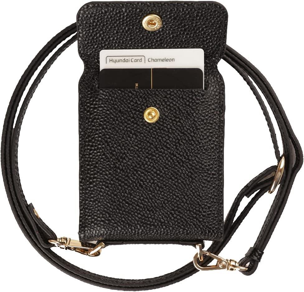 Galaxy Z Flip Card Case/Z Flip 5G Case, Genuine Leather Wallet Samsung Z Flip Case, 2 Credit Card Case Secret Pocket Phone Case Cover for Samsung Galaxy Z Flip (2020) - Black
