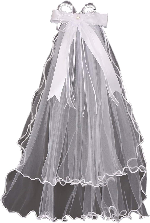Little Girls Bow Pearl Rhinestones Tulle Communion Flower Girl Headpiece Veil
