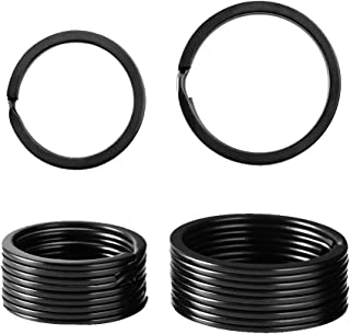 20 Pieces Flat Key Rings Metal Split Rings Key Rings Key Chain Ring for Car Home Keys Attachment, 2Sizes, Black