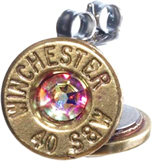 .40 Gold Plated S&W Bullet Stud Earrings with Swarovski Crystals- Aurora Borealis (Winchester)