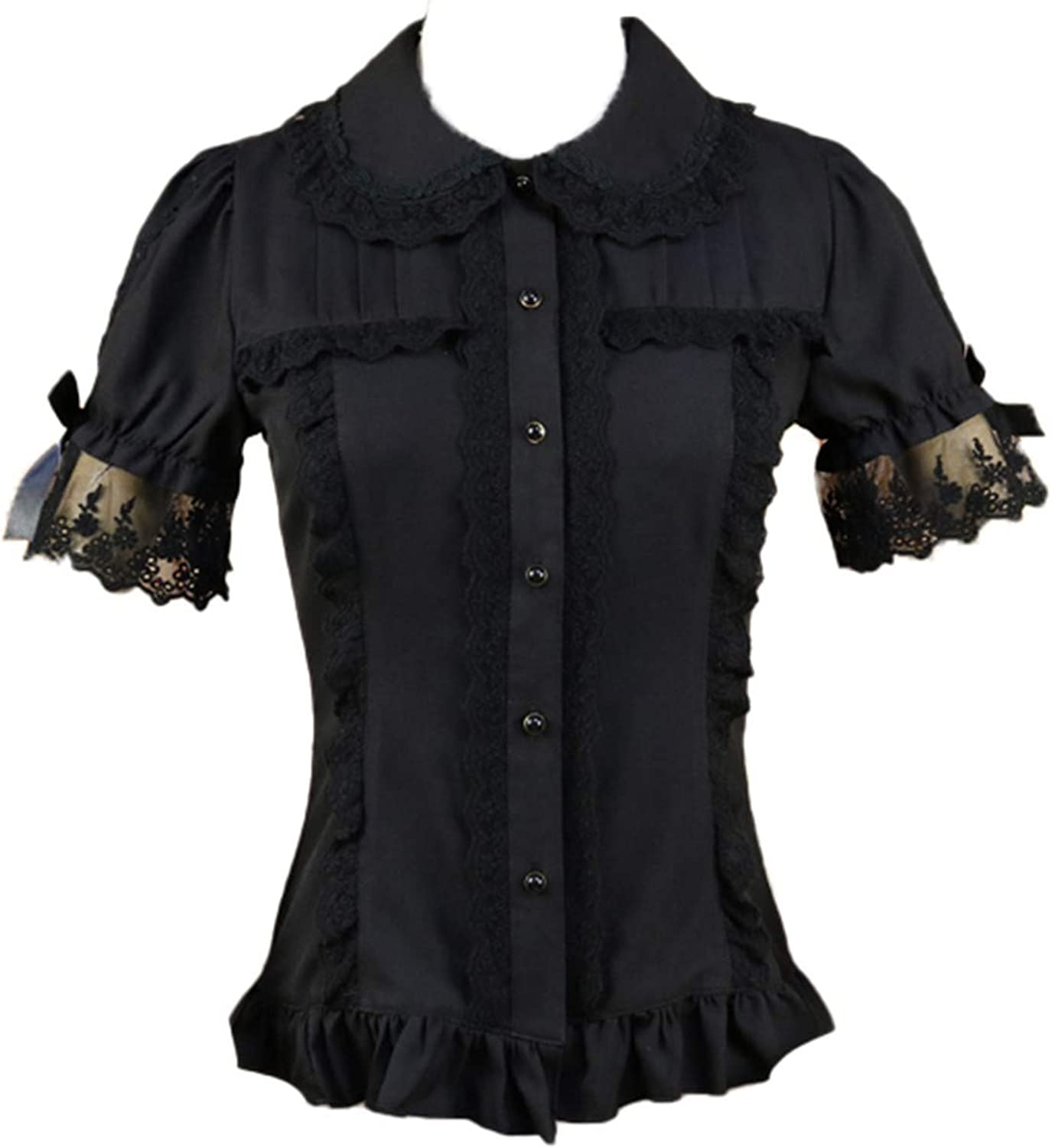 Women's Sweet Lolita Shirt Short Puff Lace Coll Pan Peter Sleeve Attention brand At the price