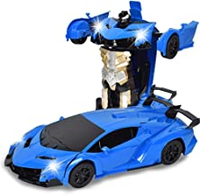 Max Children Induction Deformation Remote Control Car Toy Car Deformation Robot Lamborghini Bugatti Simulation Remote Control Series (Blue Lamborghini)