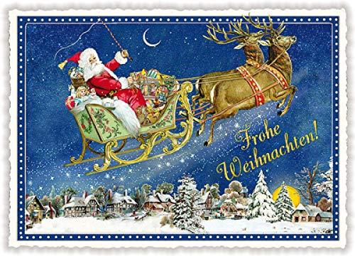 Weihnachtskarte Edition Tausendschön * Nikolaus mit Schlitten