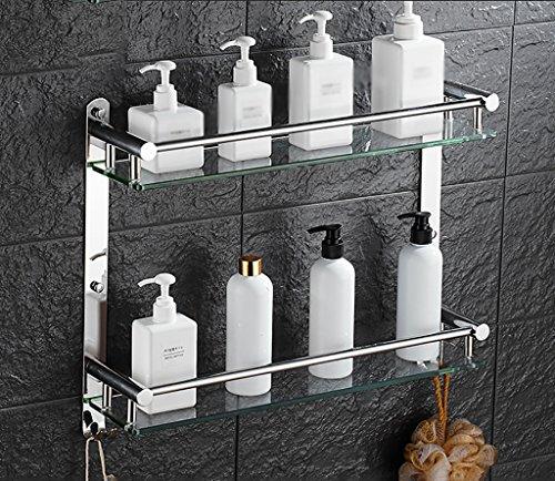 Bathroom Rack YSJ Salle de Bains Verre rectangulaire étagère Murale Verre trempé Extra épais, Section Lumineuse (Taille : 41 * 12 * 38cm)