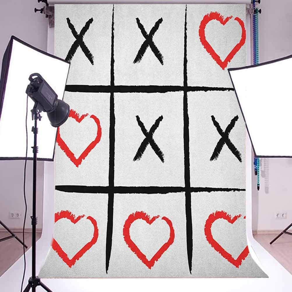 8x12 FT Xo Vinyl Photography Background Backdrops,Simplistic Love Game and Happy Valentines Cute Humor Hobby Symbols Design Background for Graduation Prom Dance Decor Photo Booth Studio Prop Banner