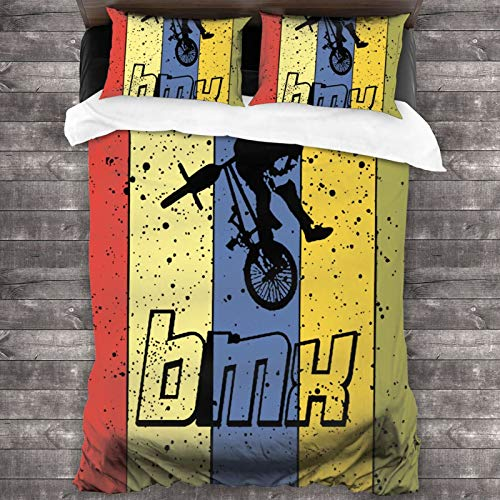 Bed Sheet Pillowcase Sets BMX Bike Rider Ride Funny Bedding Duvet Cover Set Decorative 3 Piece Fitted Bed Sheets - 1 Quilt 2 Pillow Covers Comforter Cover for Kids Adults No Inside