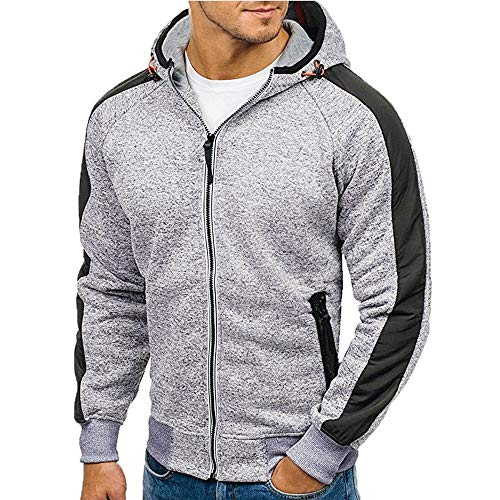 Best Bargain Men's Full Zip Hoodie,Leegor Athletic Hooded Stripe Sleeve Sweatshirt Adjustable Hat ...