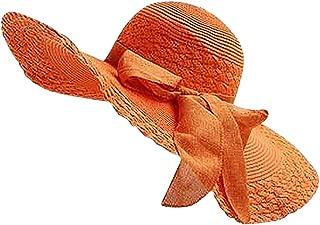 NRUTUP Women Colorful Big Brim Straw Bow Hat Sun Floppy Wide Brim Hats Beach Cap