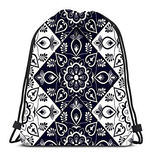 PageHar Kordelzug Taschen Rucksack Italienische Fliese Mit Schuppen Blau Und Weiß Mosaik Ornamente Portugiesische Azulejo Mexikanische Reisegymnastik Taschen