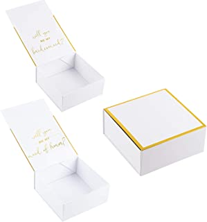 2 Bridesmaid Proposal Box and 1 Maid of Honor Proposal Gift Box, Gold Foil Text and Border, Customizable Cover, Perfect for Will You Be My Bridesmaid, MOH Presents, White, 8 x 8 x 3.6 Inches