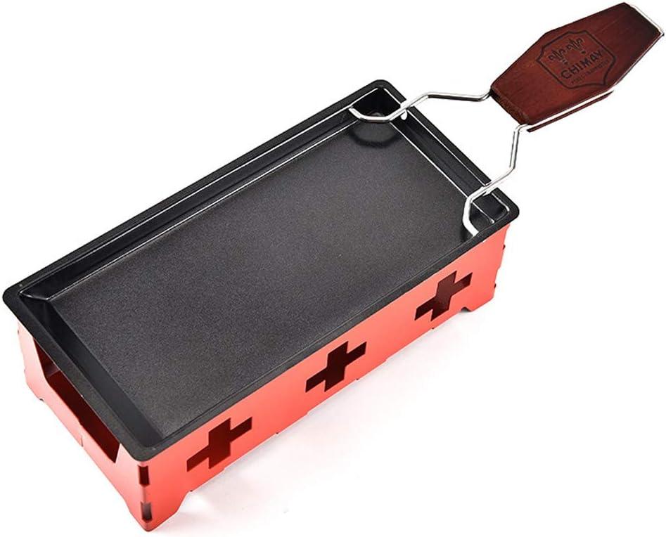 TAMUME Queso Fundido Portátil Vela Raclette Queso Metal Cacerola de Fusión del Queso Antiadherente (Rojo)