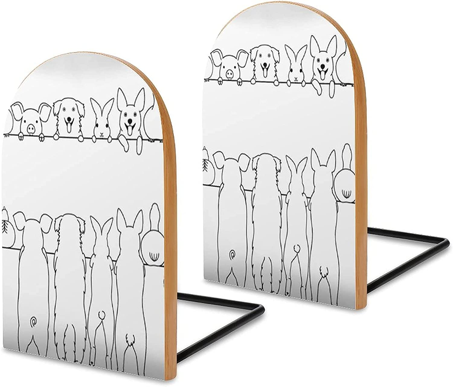 Wood Bookends Pack of Max 41% Super sale OFF 2 Standing Farm Back Non Border Skid Front