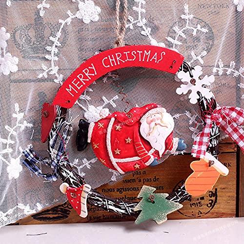 Sonze Chimeneas Escaleras Guirnaldas Decoradas,Guirnalda de Navidad Creativa, Linda Guirnalda de Joyas-C_25 x 16cm,Hoja de Arce Calabaza Berry Guirnalda