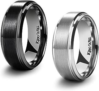 Basic Men's Black Titanium Ring 8mm Polished Beveled...