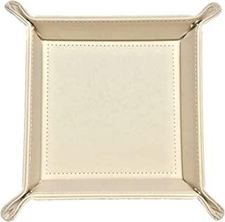 favoramulet Beige PU Leather Valet Storage Tray, Bedside Catchall Sundries Organizer Box for Key Jewelry Coin Phone Candy
