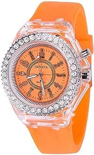 Fashion Transparent Neutral Quartz Luminous Female Silicone Tape Sports Watch Watches for Women on Sale (Orange)