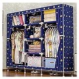 xinxinchaoshi Closet Plegable Armario portátil no Tejido Azul para Colgar Ropa para Ahorrar Espacio, Organizador de...