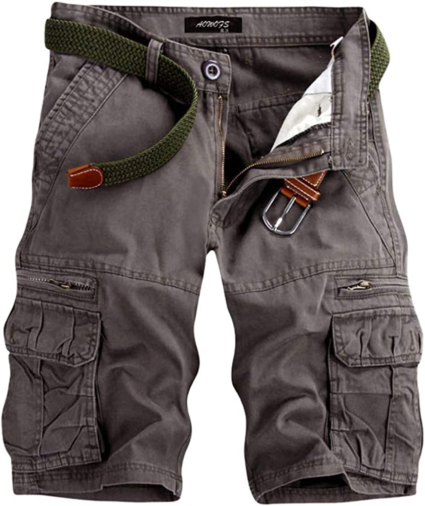 Forthery Mens Camo Cargo Shorts Relaxed Fit Multi-Pocket Outdoor Solid Color Cargo Shorts Cotton