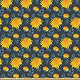 ABAKUHAUS Blume Microfaser Stoff als Meterware, Gelbe