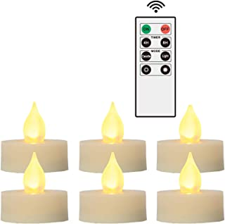 """iZAN 6 PCS Flameless LED Battery Operated Tealight Candles with Remote and Timer Flickering Electric Decorative Tea Lights for Christmas Home Party Wedding Decorations 1.5""""x1.6"""" Batteries Included"""
