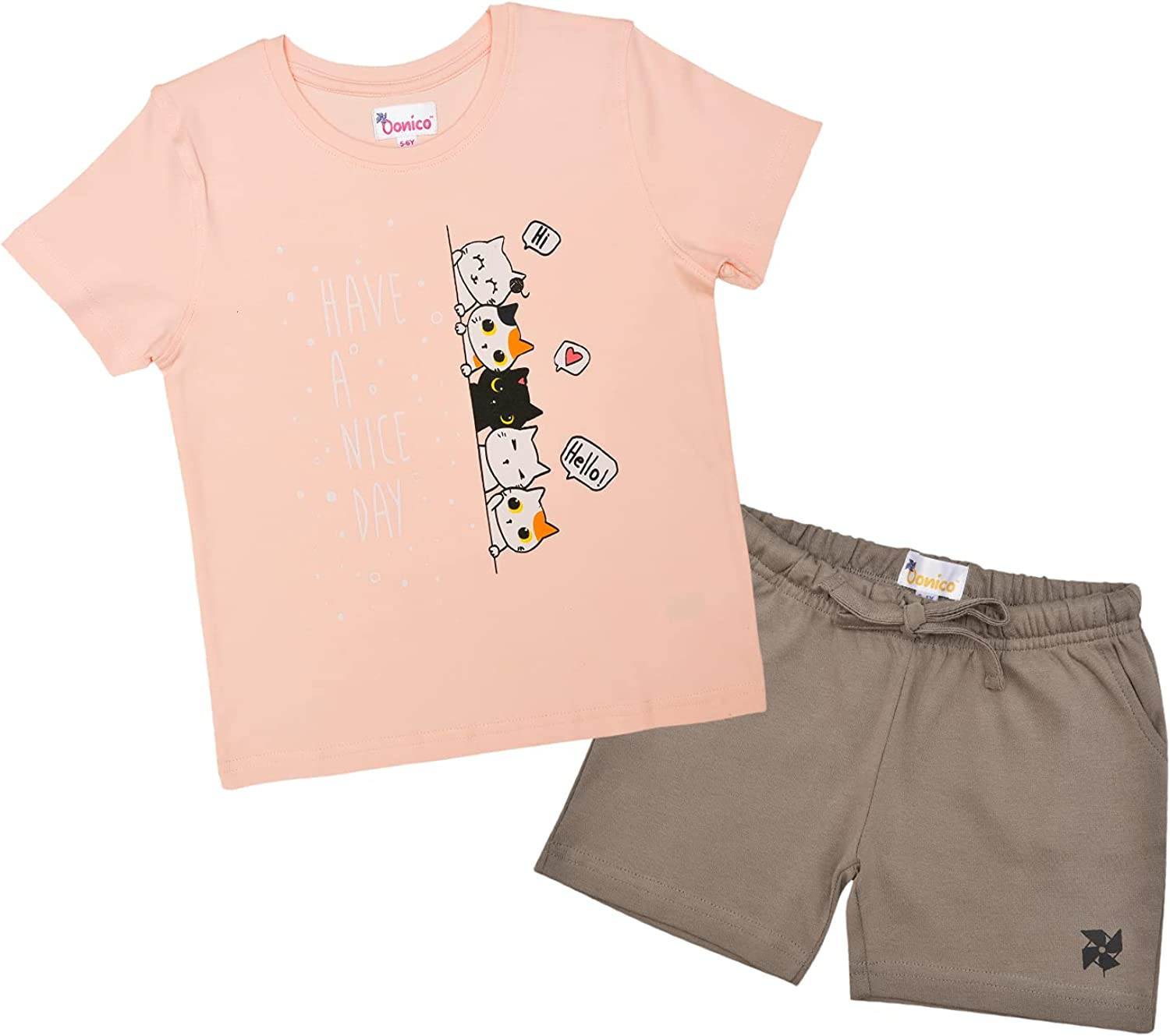 Oonico Kids Brown Unisex Shorts with Baby Pink Kitten T Shirt Set Combo