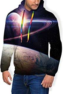 GULTMEE Men's Hoodies Sweatershirt, Sunset in Outer Space Universe Saturn View from Planet Earth Atmosphere in Spaceship,5 Size