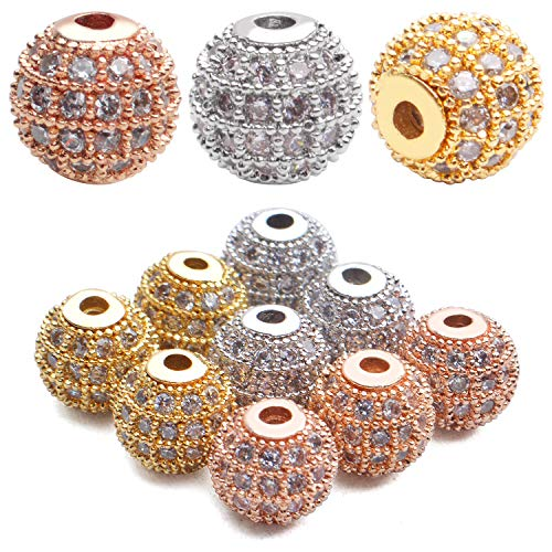 BronaGrand Cubic Zirconia Beads,9Pcs Micro Pave Disco Ball Beads Round Spacer Beads Bracelet Connector Charms Beads for Jewelry Making
