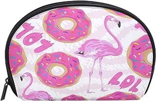 ALAZA Flamingo Donut Half Moon Cosmetic Makeup Toiletry Bag Pouch Travel Handy Purse Organizer Bag for Women Girls