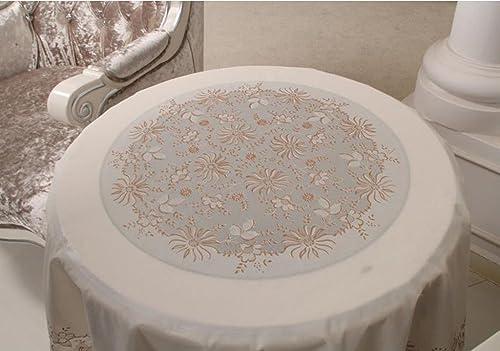 SX-BBF PVC Runde Tischdecke, Gold und Silber Druck Runde Kaffeetisch Tischdecke 180cm (Farbe   D, Größe   Round-180cm)