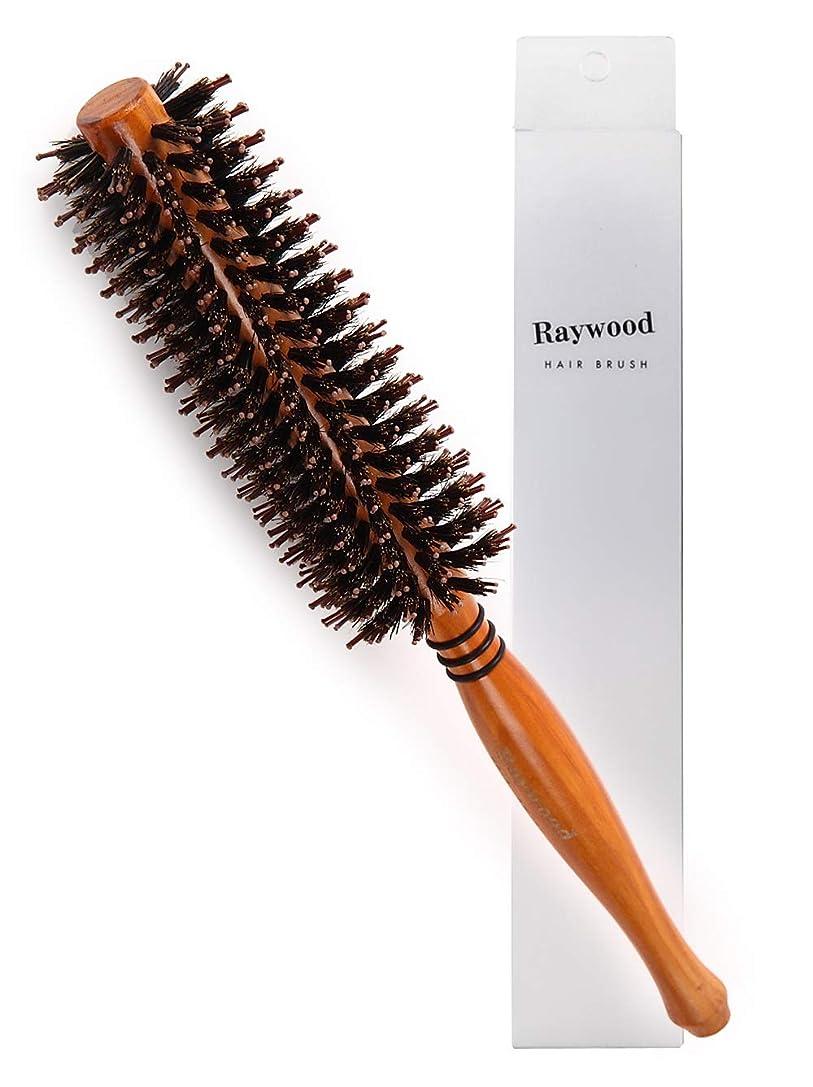 病気前方へ債権者Raywood 天然ロールブラシ 豚毛 耐熱仕様 ブロー カール 巻き髪 ヘア ブラシ ロール (M)