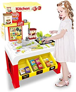 Mostbest Kitchen Pretend Play Set with DIY Modeling Clay, Cookware Set, Kids Kitchen Cooker Toys, Simulation Cooking Set with All The Sights and Light & Sounds, Christmas for Kids