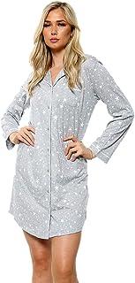 EX M&S Ladies Grey Nightdress Soft Cotton Modal Womens Long Sleeve Night Top Nightwear Plus Size Nighty Stars Loungewear