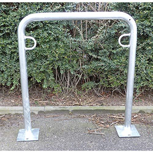Melzer Metallbau Fahrradanlehnbügel, 850 mm über Flur - zum Aufdübeln, feuerverzinkt - U-förmig, Länge 750 mm - Anlehnbügel für Fahrräder Bügelparker Fahrradanlehnbügel Fahrradhalter Fahrradparker Fahrradständer Fahrräderständer Ständer für Fahrräder