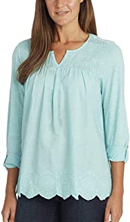 Summer Tops for Women/Daphne Ladies' Woven Blouses with Roll Tab Sleeves