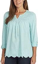 Gloria Vanderbilt Summer Tops for Women/Daphne Ladies' Woven Blouses with Roll Tab Sleeves