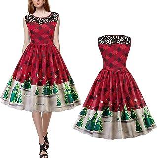 705bdc94f9f TMISHION Robe pour Femme Robe sans Manches Robe Sexy Robe Longue Costume de  fête de Noël