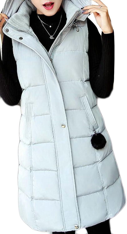 GenericWomen Generic Women's Fashion Fit Long Solid Hoodies Plus Size Down Vest Parka Coat