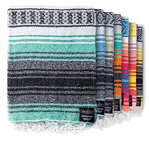 Authentic Mexican Blanket - Yoga Blanket, Handwoven Serape Blanket, Perfect as Beach Blanket, Picnic Blanket, Outdoor Blanket, Yoga Blanket, Camping Blanket, Car Blanket, Woven Blanket (Mint)