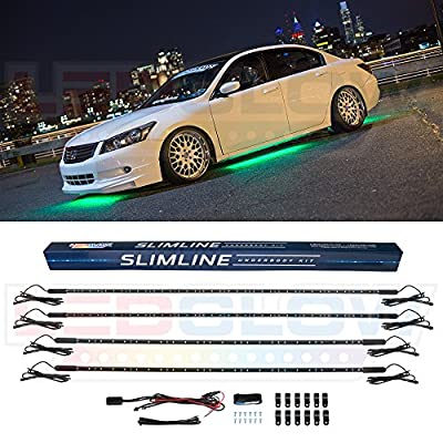 LEDGlow 4pc Green Slimline LED Underbody Underglow Accent Neon Lighting Kit for Cars - Solid Color Illumination - Water Resistant, Low Profile Tubes - Included Power Switch Turns Lights On & Off