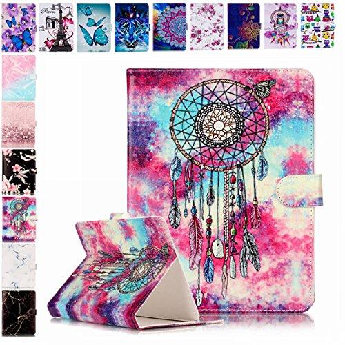 E-Mandala Universal 7 Zoll Hülle Etui Flip Case Leder Wallet Cover Tablet PC Tasche mit Kartenfach Klapphülle Ledertasche Lederhülle - Traumfänger Feder Campanula