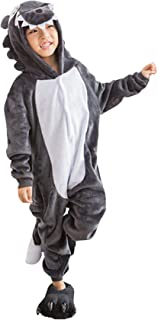 7b306a88587e6 Enfant Pyjama Unisexe Onesie Kigurumi Animaux Loup Gris Cosplay Costume  Combinaison Vetements de Nuit pour Taille