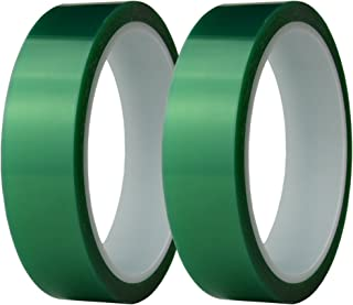 Hxtape 1 Inch Polyethylene Terephthalate(PET) High Temperature Green Powder Coating Masking Tape, Ideal to Painting, Powder Coating, Anodizing Applications,Multi Size (1 inch-36yds-2 roll)