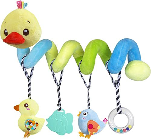 Car seat Toys, Baby Activity Spiral Plush Toys for Stroller bar Accessories, Crib Toys with Bell for boy or Girl, Han...