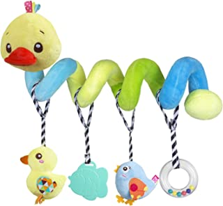 caterbee Car seat Toys, Baby Activity Spiral Plush Toys for Stroller bar Accessories, Crib Toys with Bell for boy or Girl, Hangings Rattle Toy with Squeaky (Yellow-Duck)