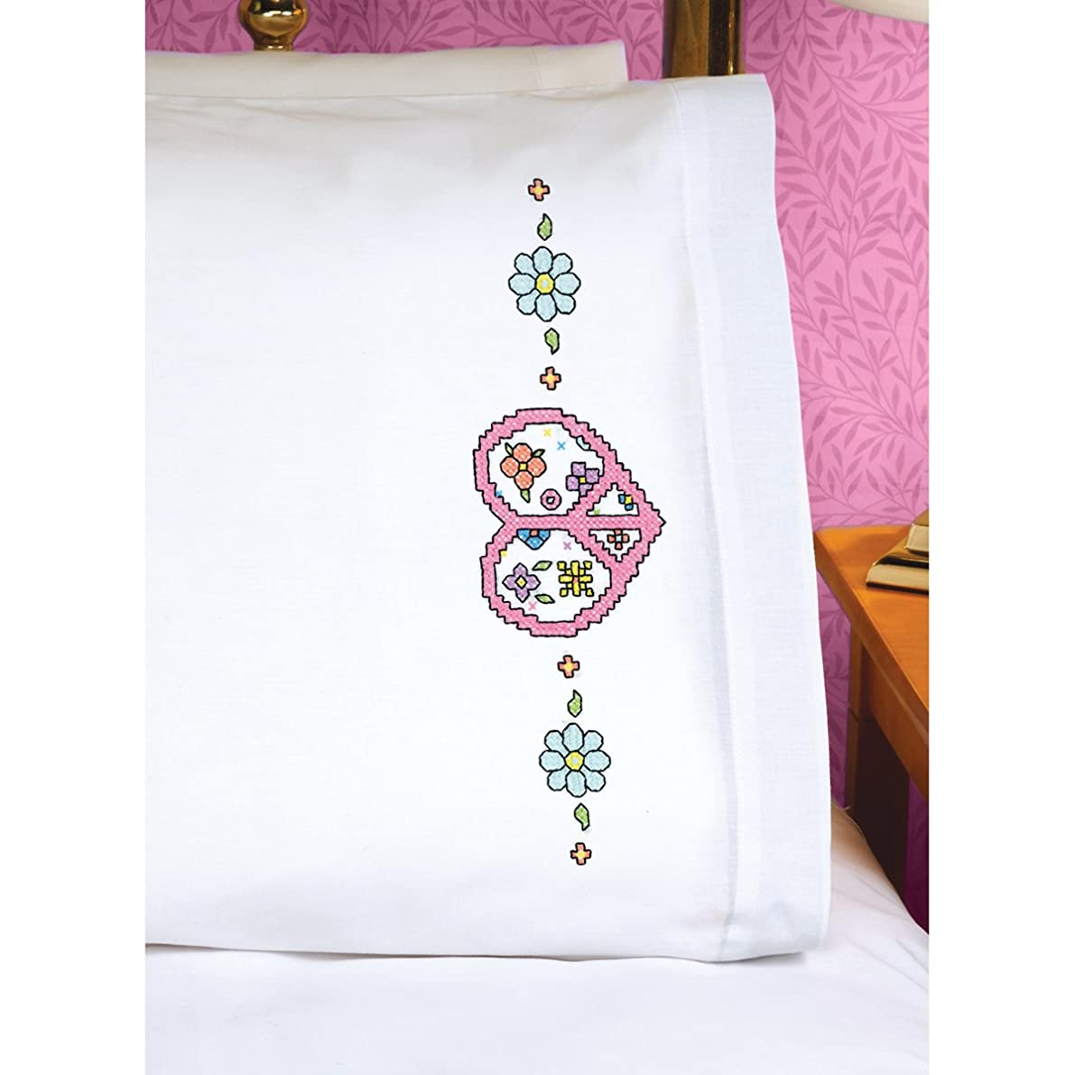 Janlynn Peace Heart Sign Pillowcase Pair Stamped Cross Stitch, 20 by 30-Inch