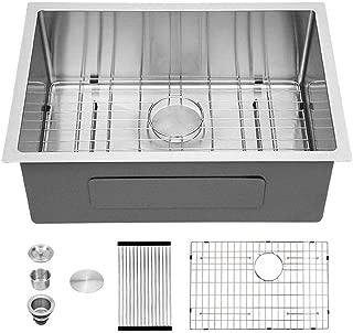 Sarlai 26 Inch Undermount 16 Gauge R10 Tight Radius Single Bowl Stainless Steel Kitchen Sink