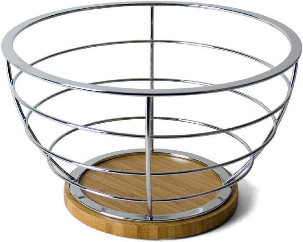 EUROXANTY® Frutero de Metal y Bambú   Frutero de diseño para Cocina   Gran Capacidad de Frutas   Almacenaje de Frutas   Acero Cromado   24 cm   Redondo bambú