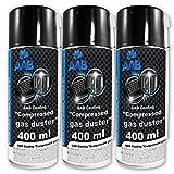3 x AAB Botella de Aire Comprimido 400ml para Limpiar Teclados, Ordenadores, Copiadoras, Cámaras, Impresoras y Otros Equipos Eléctricos, Soplador, Eliminación de Polvo, Spray Limpiador