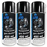 3 x AAB Bombolette Spray d'Aria Compressa 400ml per Pulire PC, Tastiera, Televisioni, Fo...